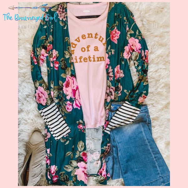 Breath Taking Floral Print Teal Cardigan Bodice Is A True Teal With Bold Hot Pink And White, large blooms with a sage green foliage. Contrasted With Stripe Thumbhole Cuffs.