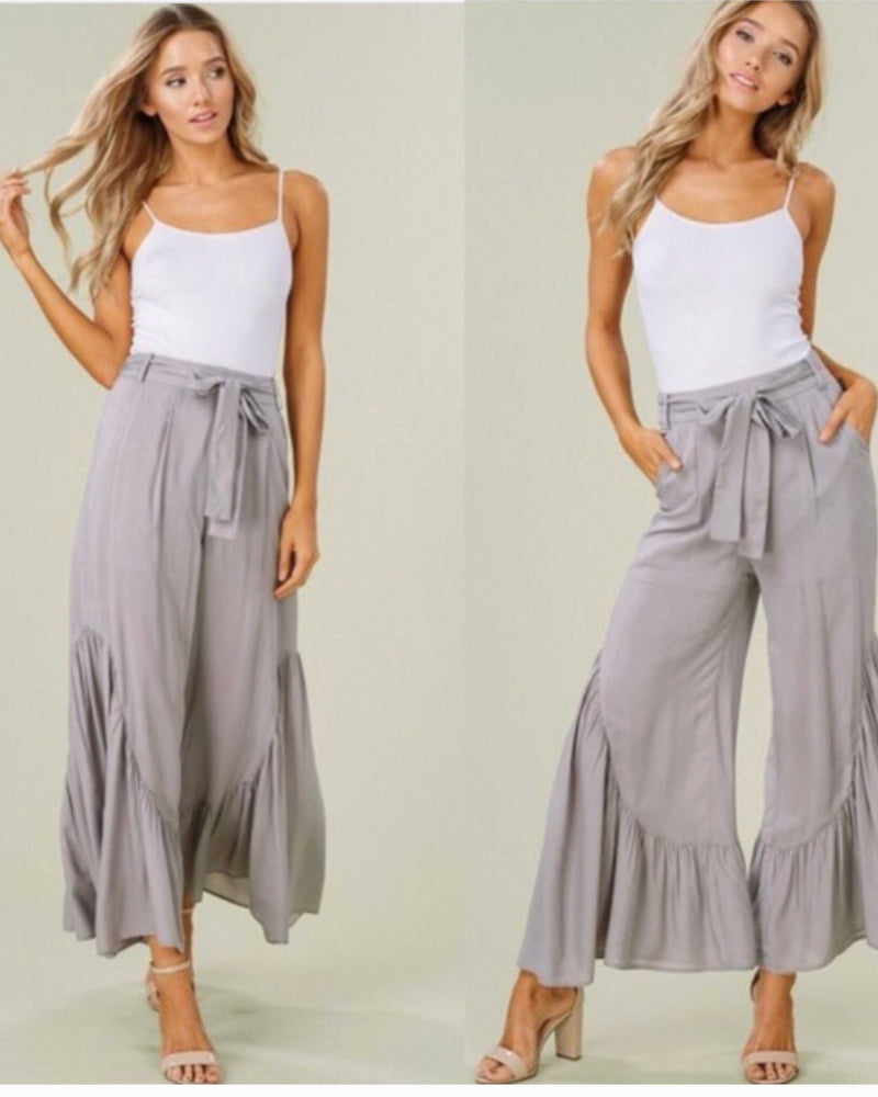 Misty Grey Flounce pants - TheBrownEyedGirl Boutique
