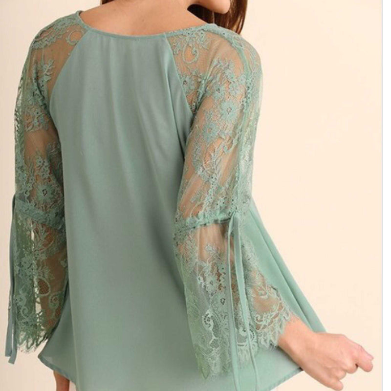Its All In The Details Sage Vintage Lace Top - TheBrownEyedGirl Boutique