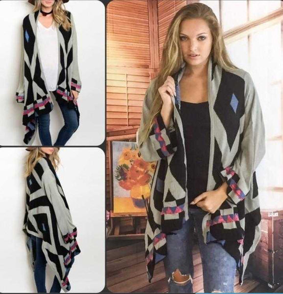 Grey & Black Cascading Aztec Sweater Cardigan - TheBrownEyedGirl Boutique