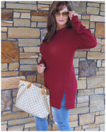 Waffle Knit Side -Slit Sweater Cabernet/ Eggplant/ Black - TheBrownEyedGirl Boutique