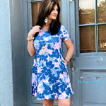 Lovely Blue Floral Short Dress