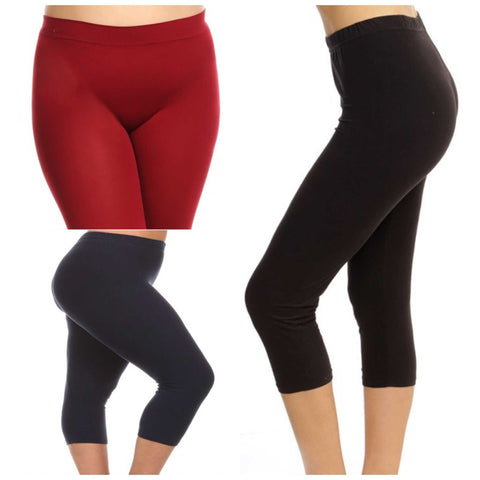 Solid Plis Size Seemless Capri Leggings