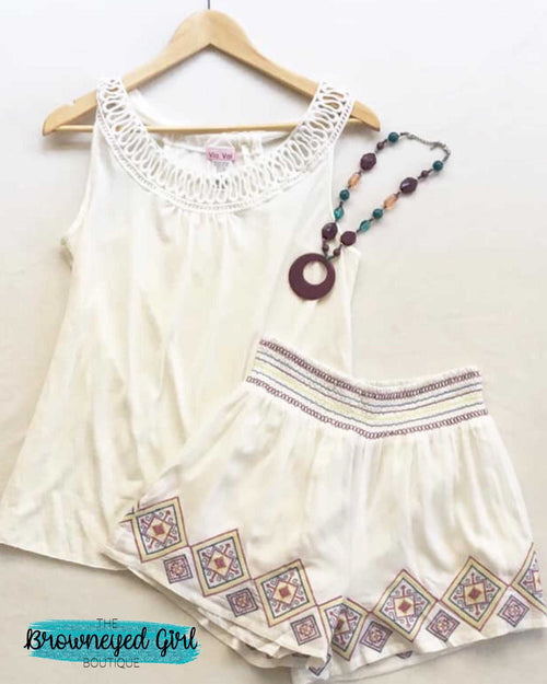 Ivory / Navy Embroidered Palazzo Aztec Shorts - TheBrownEyedGirl Boutique