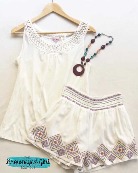 Ivory / Navy Embroidered Palazzo Aztec Shorts