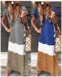 V Neck Casual Color Block Short Sleeve Dresses