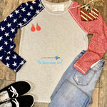 America Star Crew Neck French Terry Sweatshirt Thumbholes