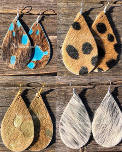 Leopard Leather Hair On Hide  Hand Made Earrings
