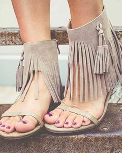 Very Volatile Lex  Adorably Cute Faux Suede Fringed Low Heel Sandal in Ice or Black