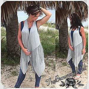 Urban Style Asymeterical Grey Fringed Vest/Cardigan