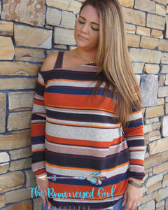 Willow Striped Off the Shoulder Sweater Top With Thumbholes