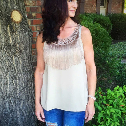 Toffey Crochet and Fringe Tank Top - TheBrownEyedGirl Boutique