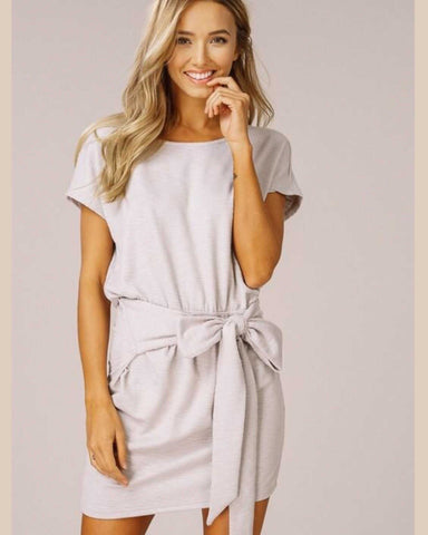 Soft Grey Ribbed Knit Tie Front Dress A must Have