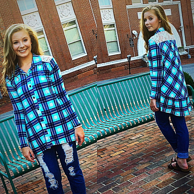Must have Plaid Lace Tunic - TheBrownEyedGirl Boutique