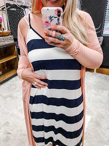 Alise Navy/White Stripe Midi Dress Pull Over Style Wear Alone Or Layer