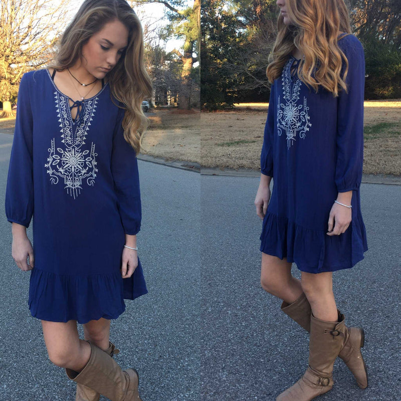 Katie Blue Embroidered Dress - TheBrownEyedGirl Boutique
