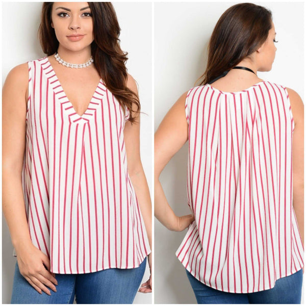 Red And Ivory Striped Sleeveless Blouse