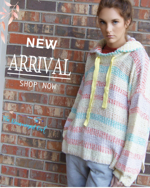 Easel Cotton Candy Striped Sweater PullOver Hoodie - TheBrownEyedGirl Boutique