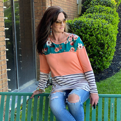 Floral Days Color Block Teal Tunic