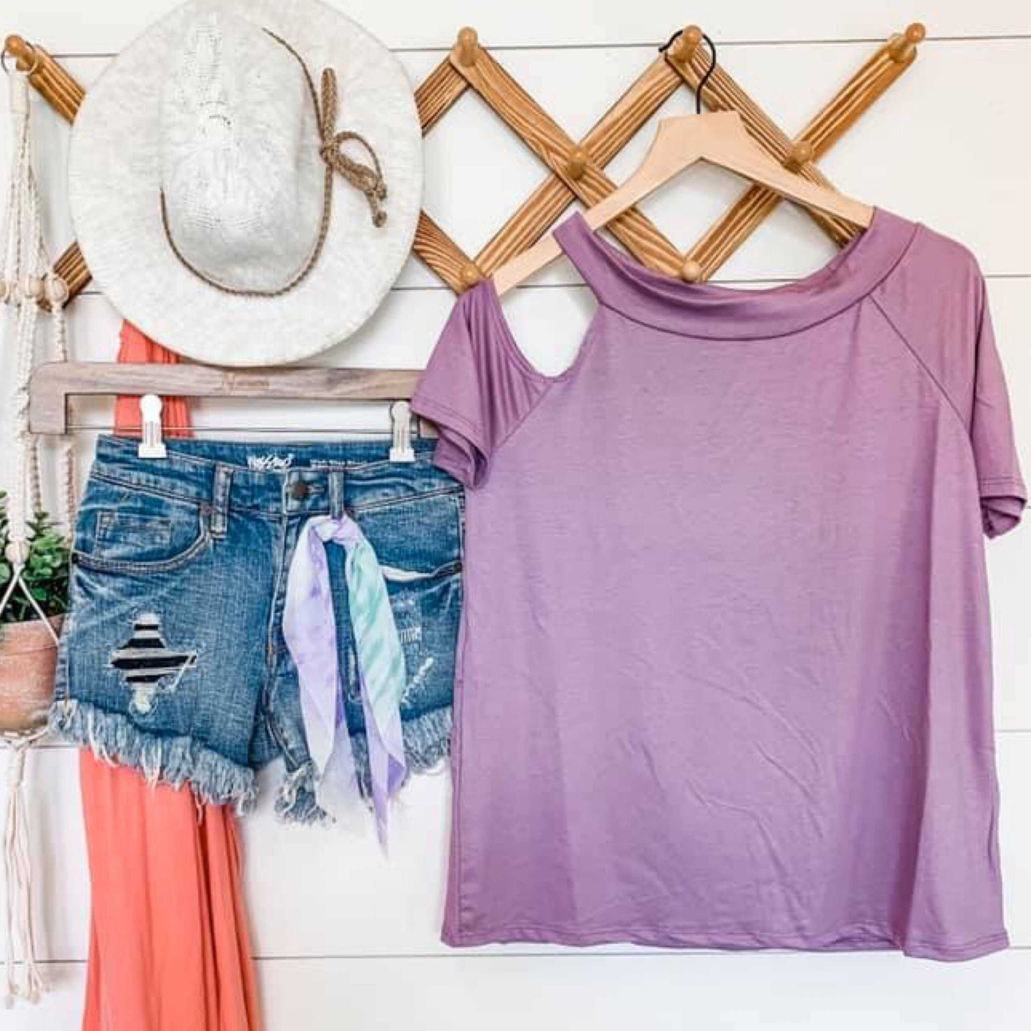 Katie Solid Lavender Cold Shoulder Top