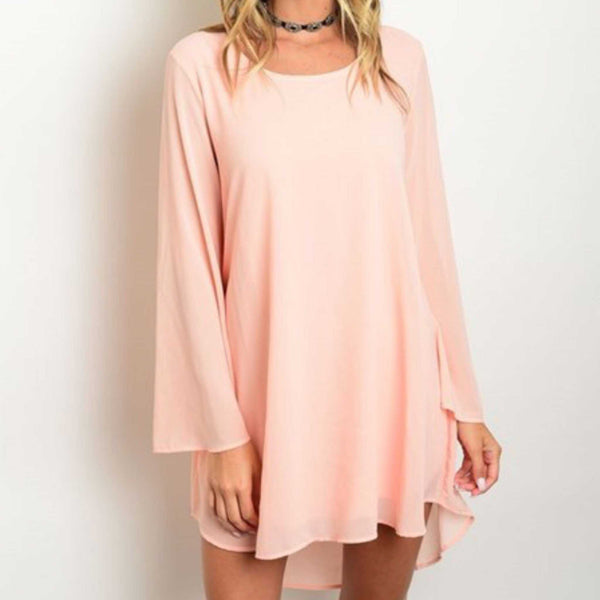 Peach Love Boho Style Key Hole Back Mini Dress - TheBrownEyedGirl Boutique