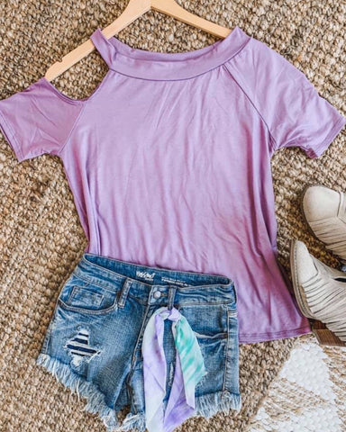 Lavender Katie Cold Shoulder Top Uniquely Designed With On Or Off The Shoulder On Opposite Side USA MAde