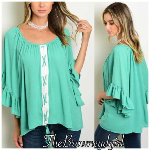 Loving this Mindy Mint Lace up top - TheBrownEyedGirl Boutique