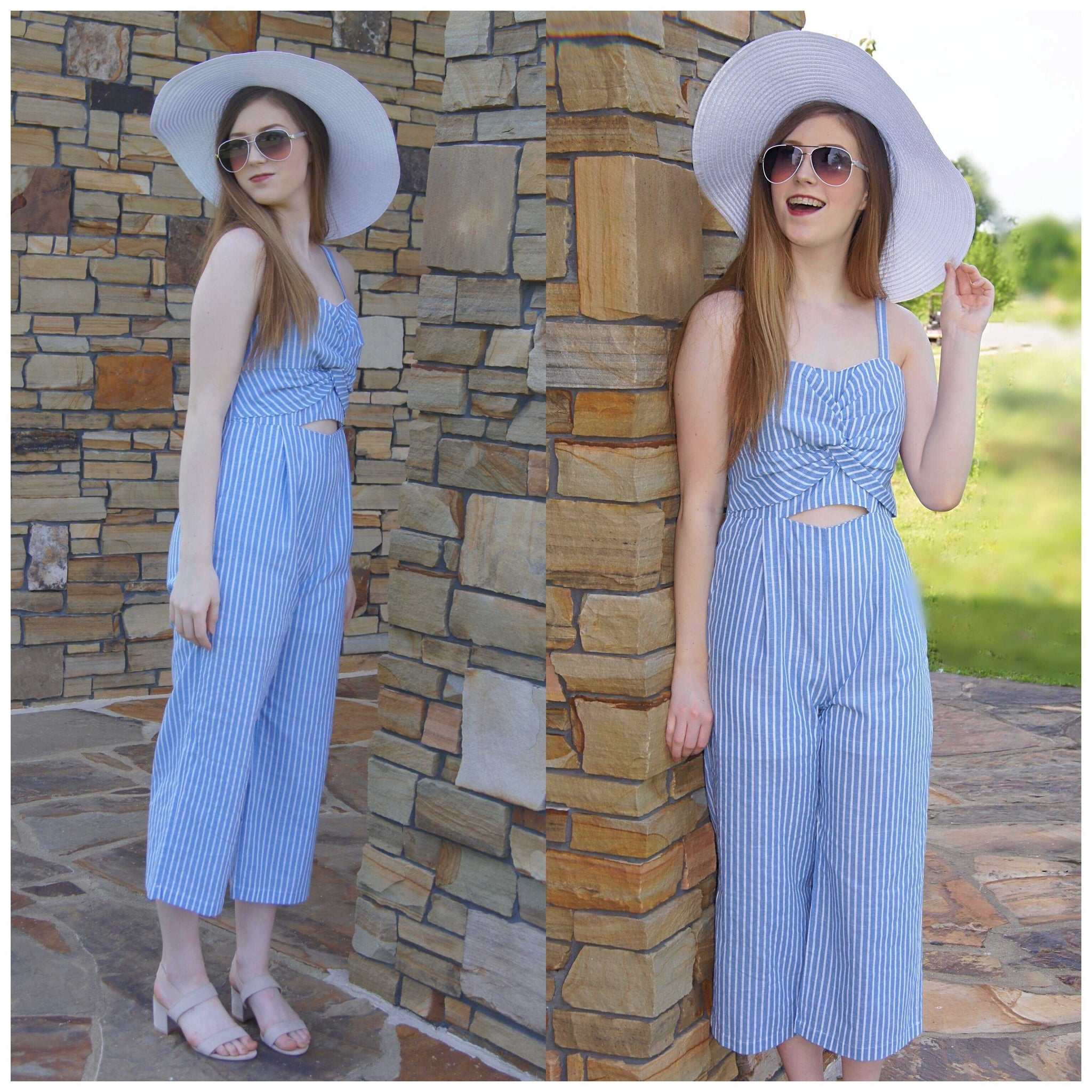 Blue And White Stripe Me Down Wide Legged JumpSuit