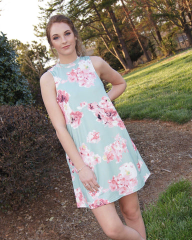 All In My Dreams Floral Dress/ Mint Side Pocket Dress Perfect For Easter, Graduation, Church