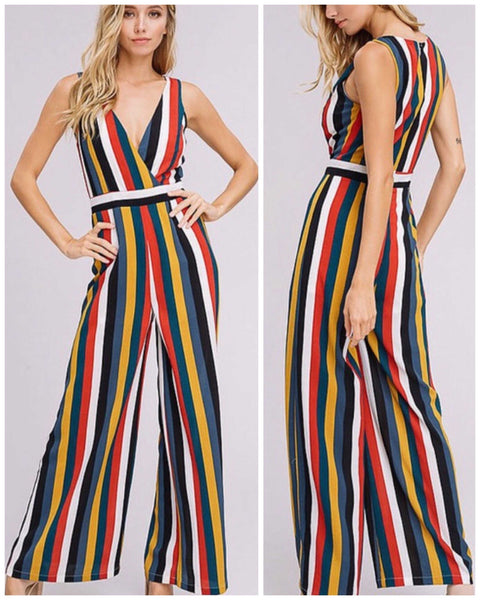 Multi Color Striped V-Neck Jumpsuit - TheBrownEyedGirl Boutique