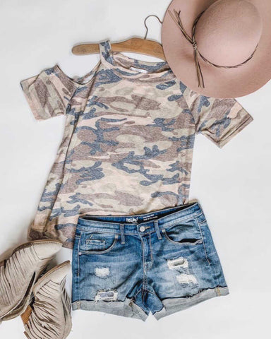 Katie Camo Cold Shoulder Top Unique Clothing Easy Dress Up Or Down