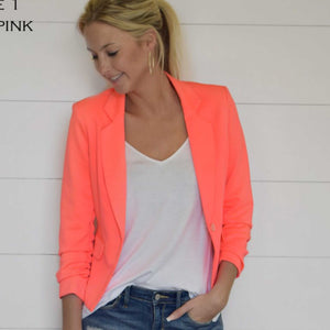Give Me Ruched Neon Pink Blazer - TheBrownEyedGirl Boutique