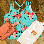 Tropical Paradise Criss Cross Tank Top - TheBrownEyedGirl Boutique