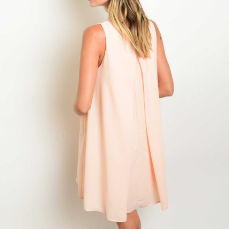Dreamsicle Peach Solid Key-hole Shift Dress - TheBrownEyedGirl Boutique