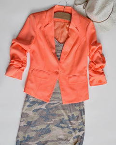 Neon Orange Give Me Ruched Short Blazer