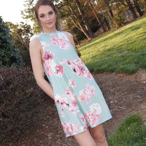 All In My Dreams Floral Dress/ Mint - TheBrownEyedGirl Boutique