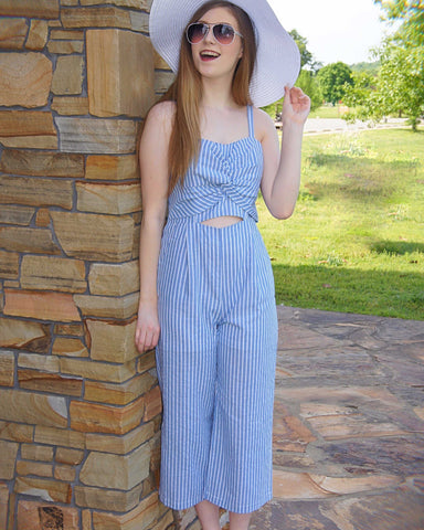 Blue And White Stripe Me Down Wide Legged JumpSuit - TheBrownEyedGirl Boutique