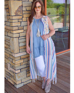 Boho Teal Embroidered  Stripe And Lace Maxi Duster - TheBrownEyedGirl Boutique