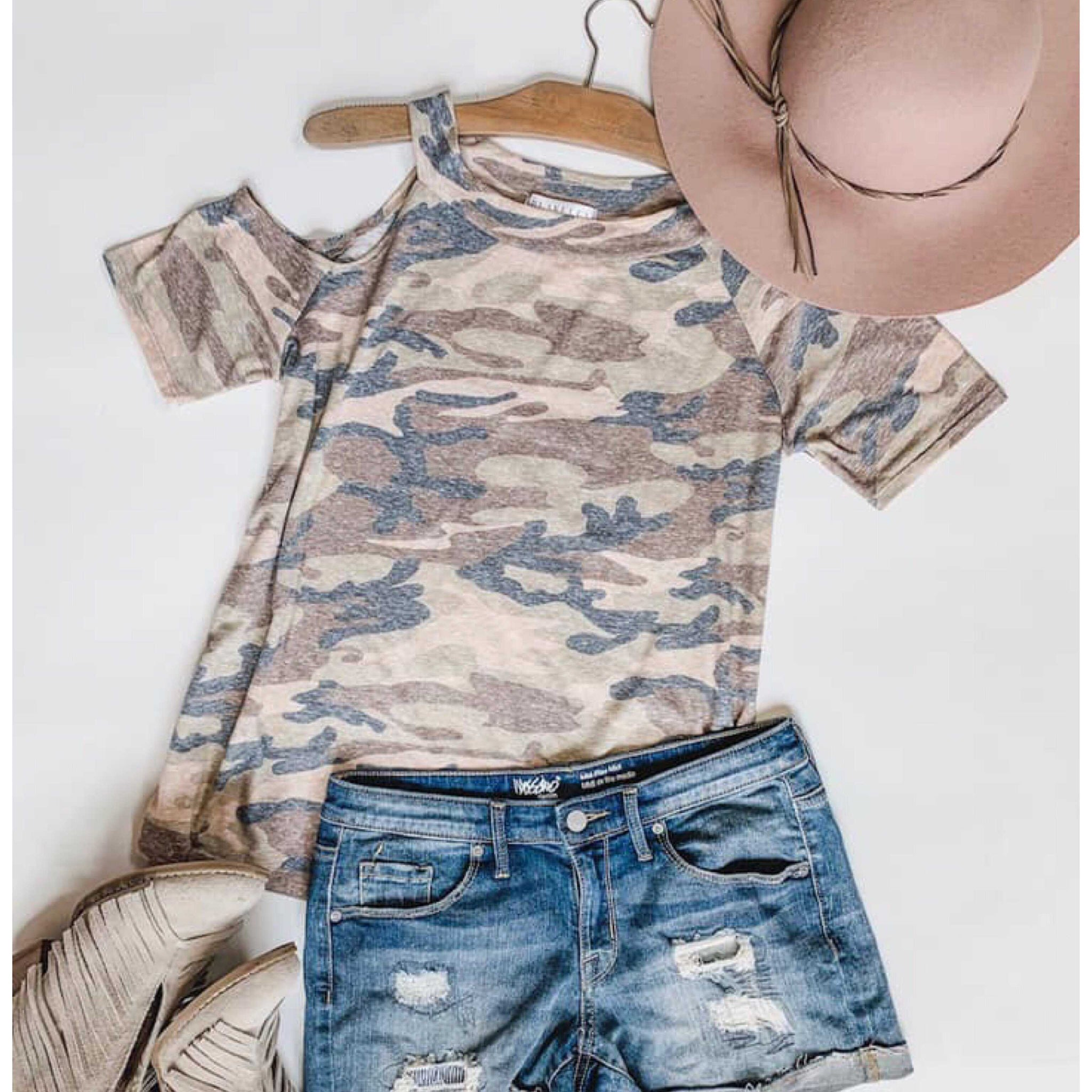 Katie Camo Cold Shoulder Top - TheBrownEyedGirl Boutique