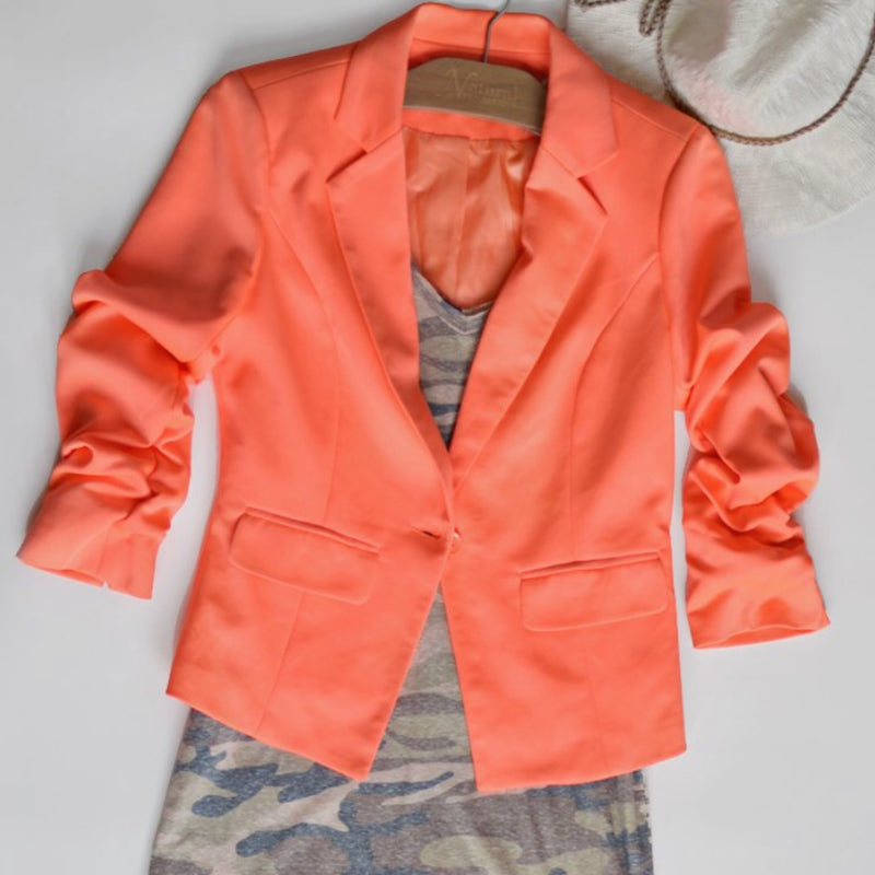 Neon Orange Give Me Ruched Short Blazer - TheBrownEyedGirl Boutique