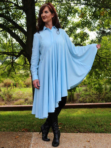 Bella Blue Denim Bat Wing Tunic Asymmetrical Tunic/ Dress