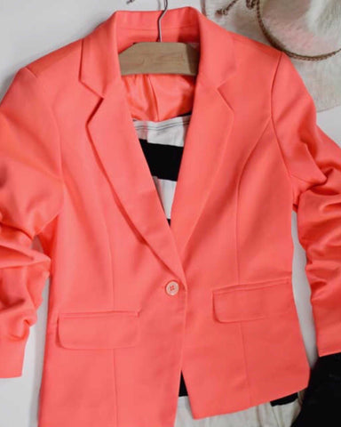 Give Me Ruched Neon Pink Blazer Button Front Notched Lapel Faux Pockets