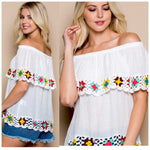 White Beach Baby Crochet Off The Shoulder Top - TheBrownEyedGirl Boutique