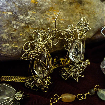Herkimer Diamond Crystals, Sterling Silver wire