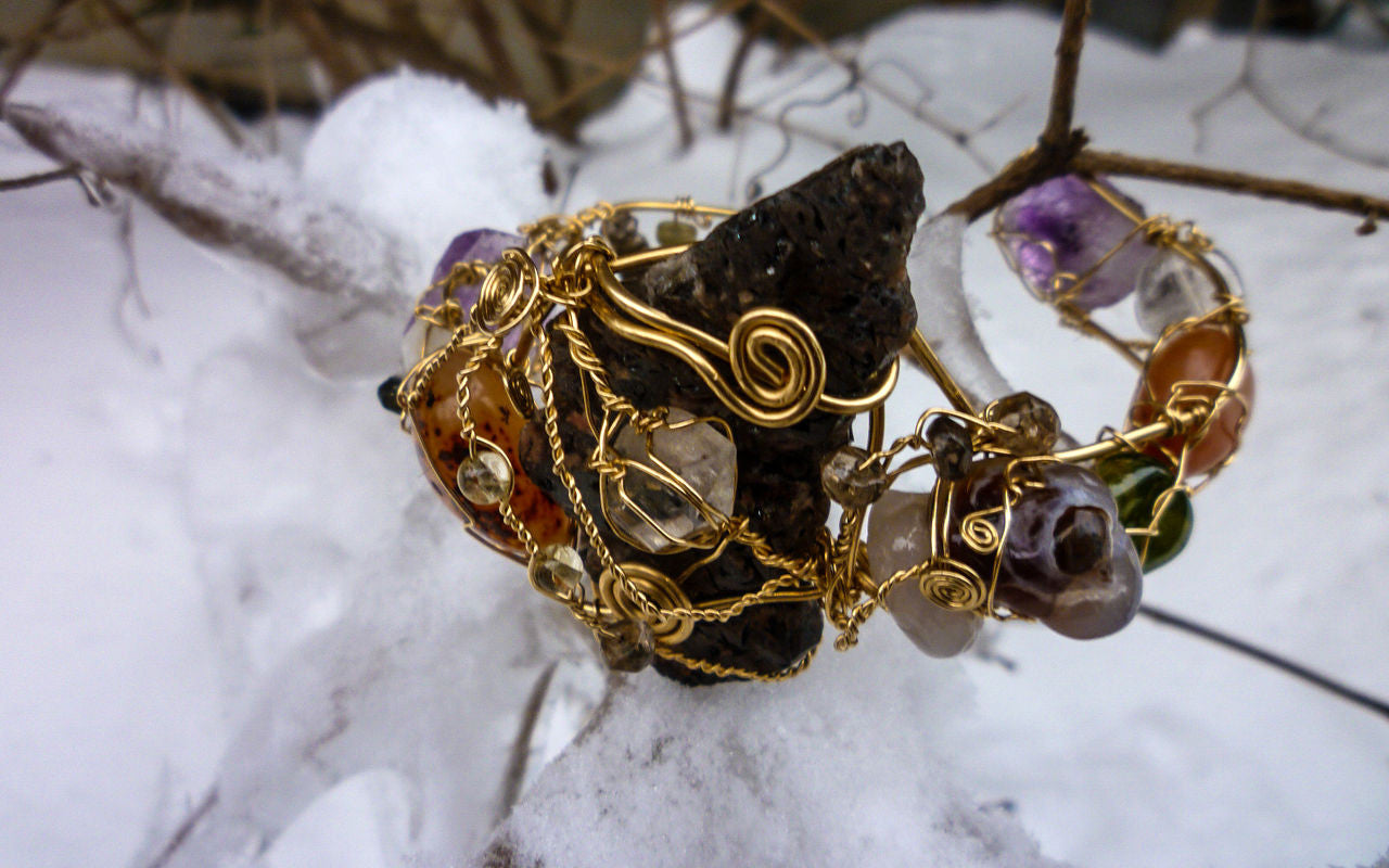 Crystal jewelry in winter snow, a bracelet