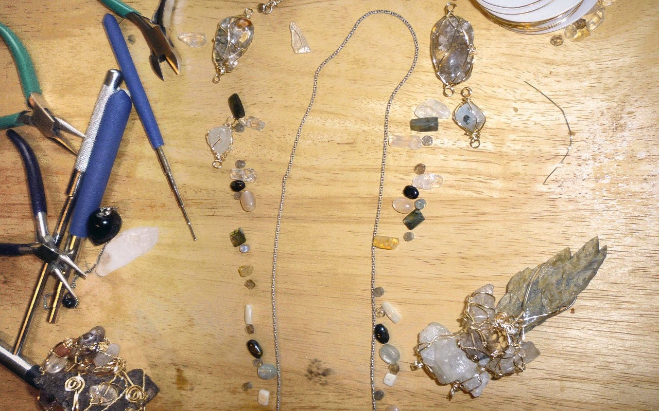Working on crystal jewelry