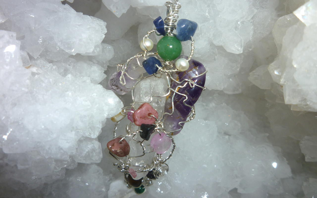 Crystal jewelry and crystals, an arrangement
