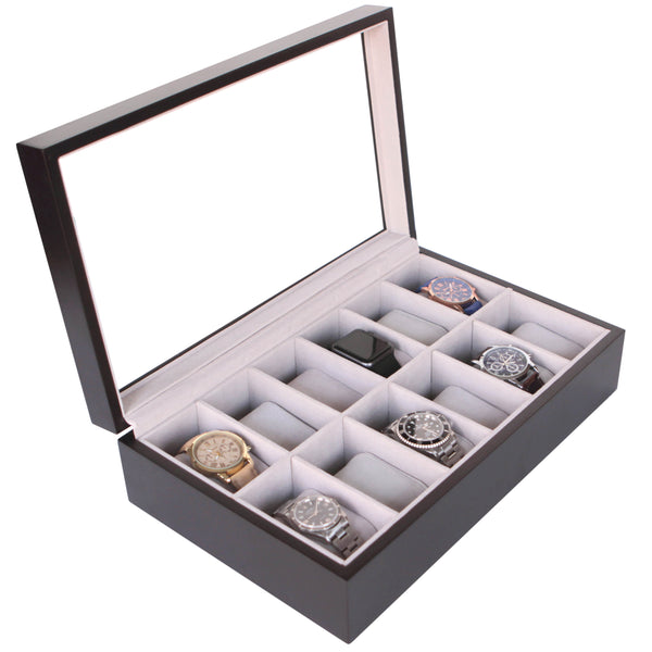 Solid Espresso 12 Slot Wood Watch Box