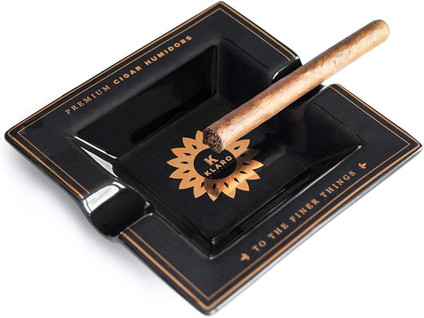 Klaro Square Medium Black and Gold Inlay Ceramic Ashtray for Two Cigars