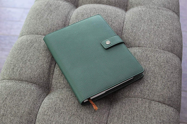 Green Full Grain Leather Refillable Journal Cover with A5 Lined Notebook by Bucksaw